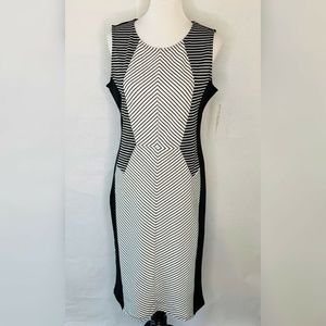 NWT Almost Famous Sheath Dress Black Striped XL
